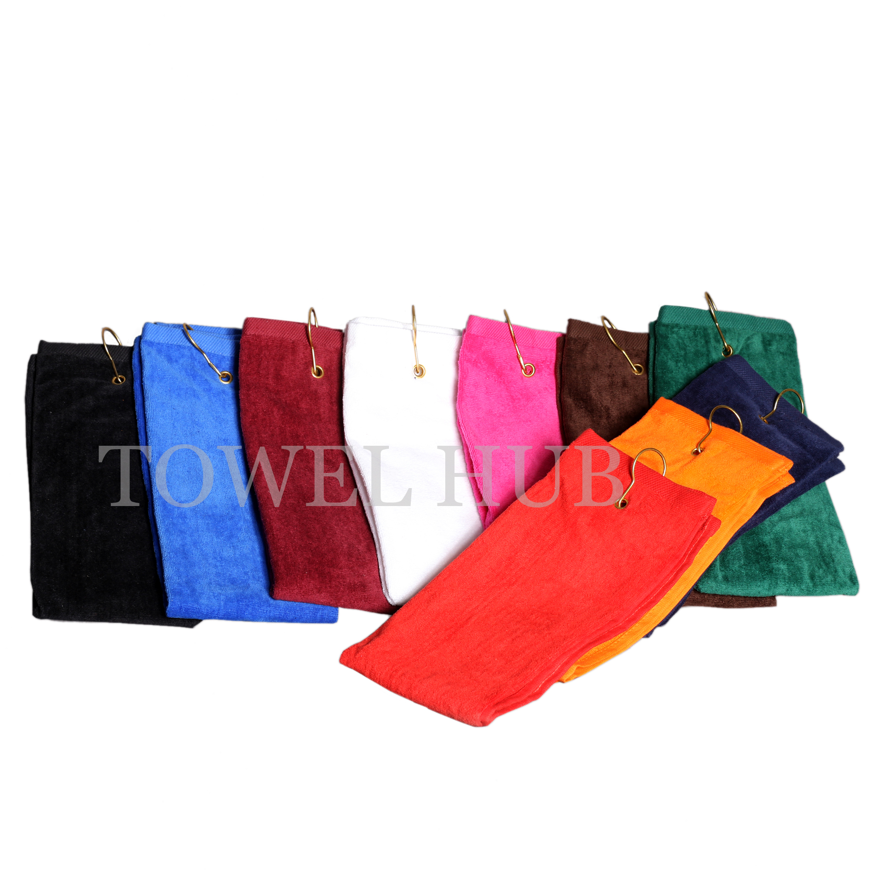 Golf Towels Category Microfiber Towel Standard 16x26 Tri Fold Color With Brass Grommet Hook