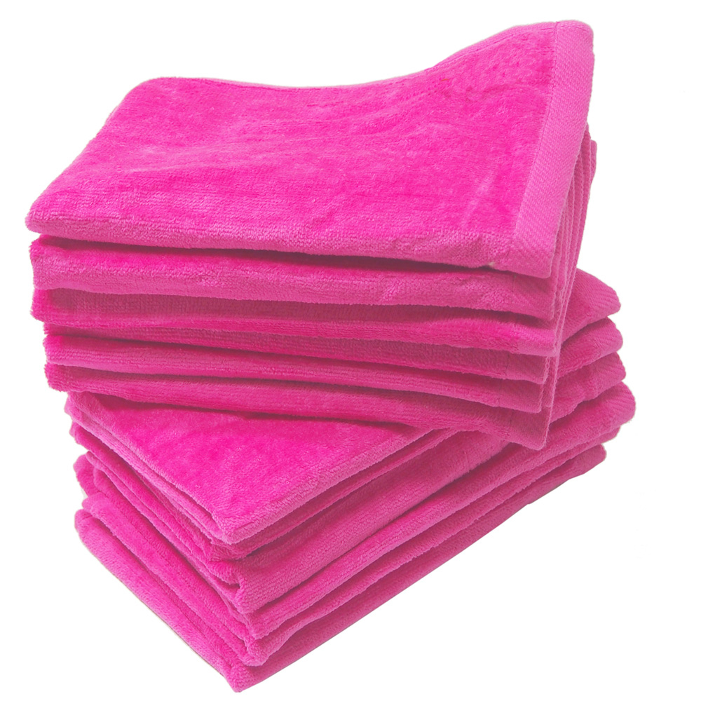 100% Cotton Hot Pink Velour Hand Towels