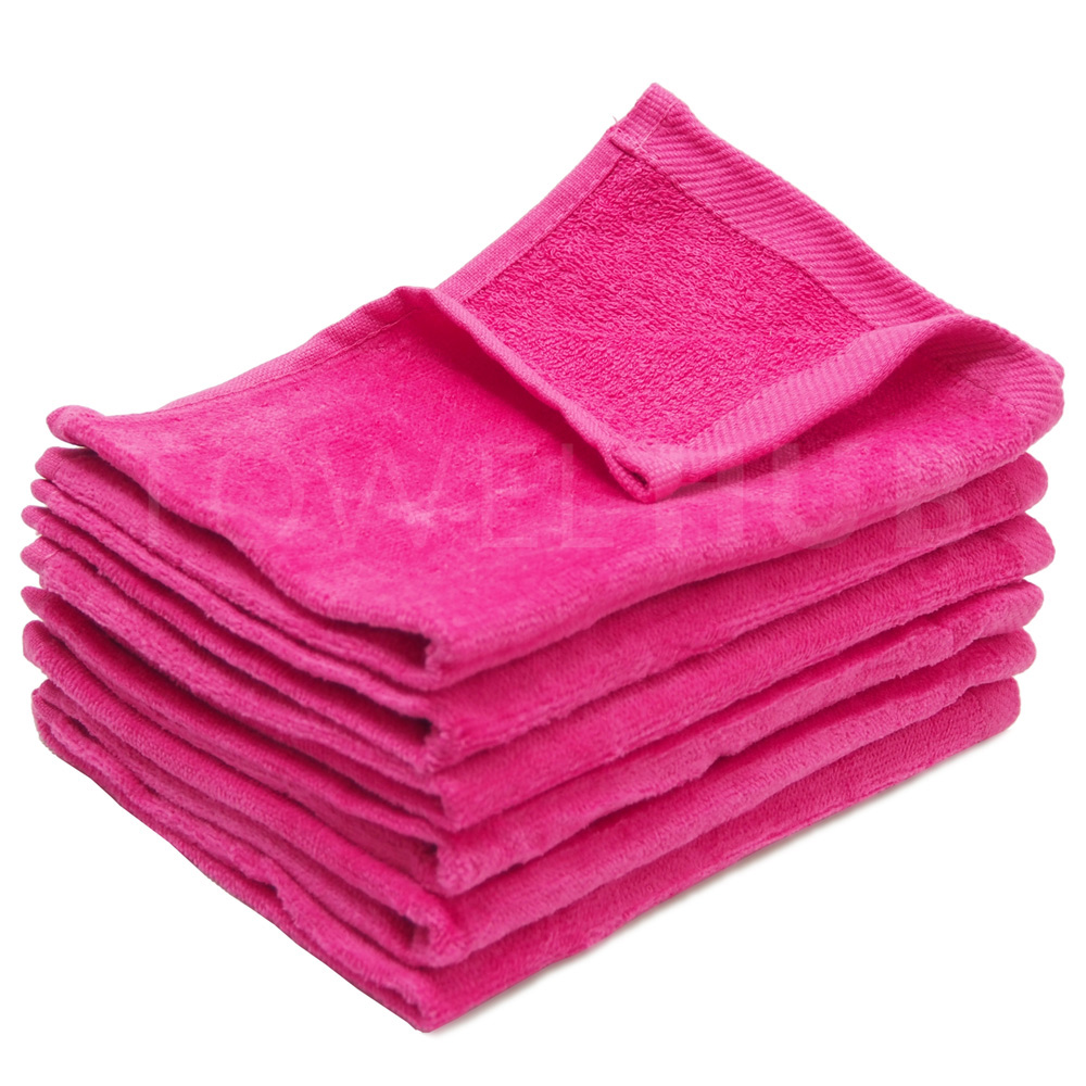 Velour Bath Towels Wholesale: Hot Pink Fingertip Terry Velour Towel With Hemmed