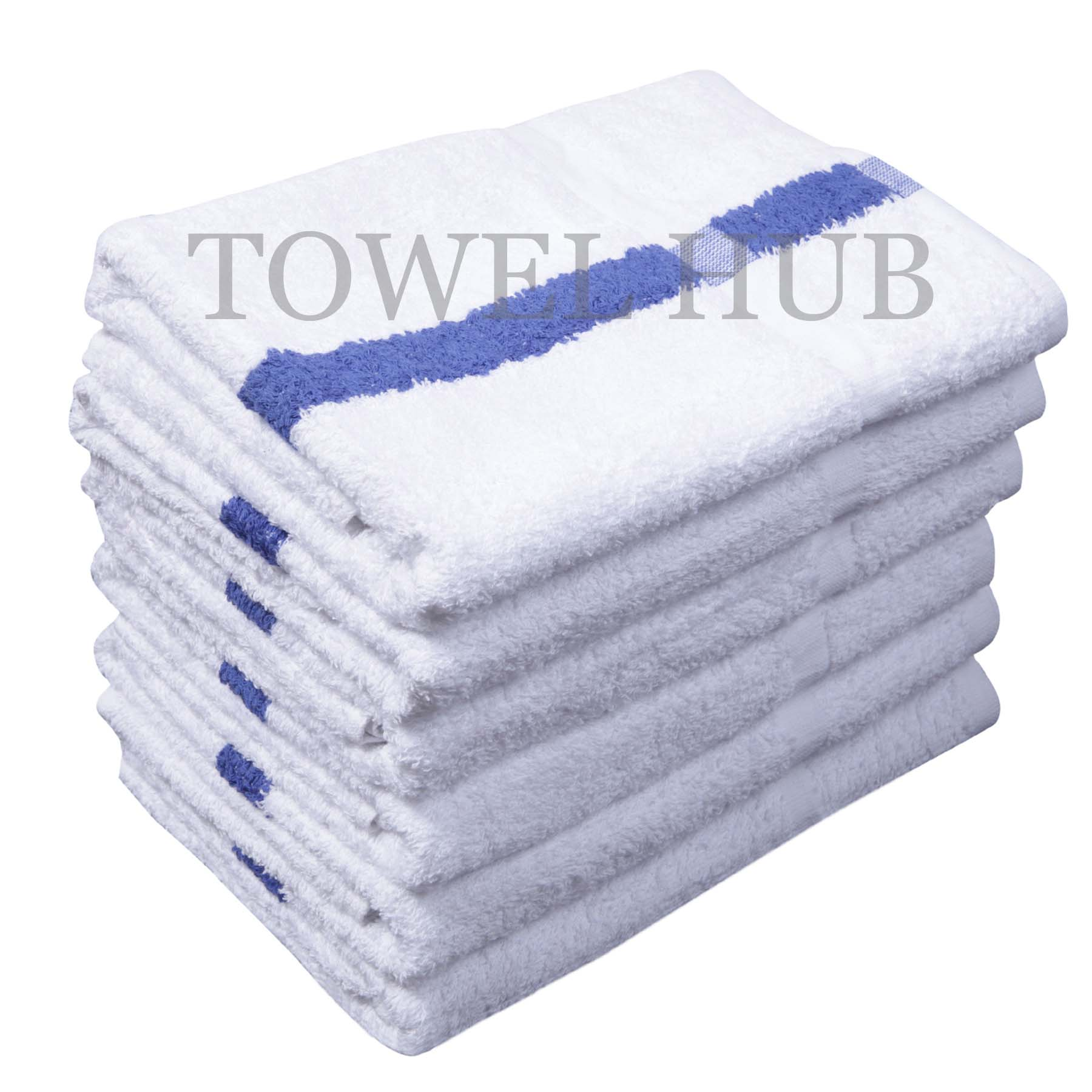 24x48 Blue Center Stripe Wholesale Gym Bath Towel 100 Cotton