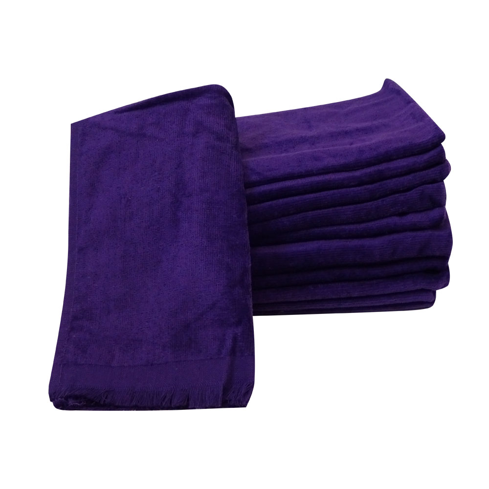 PURPLE Fingertip Towels With FRINGED ENDS