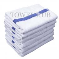 22x44 Blue Stripe Premium White Bath Towel