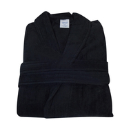BLACK Terry Velour Shawl Collar Bath Robes 100% Cotton